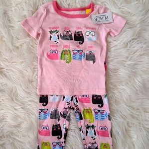 NWT 6-9m Girls Kitty Pajamas